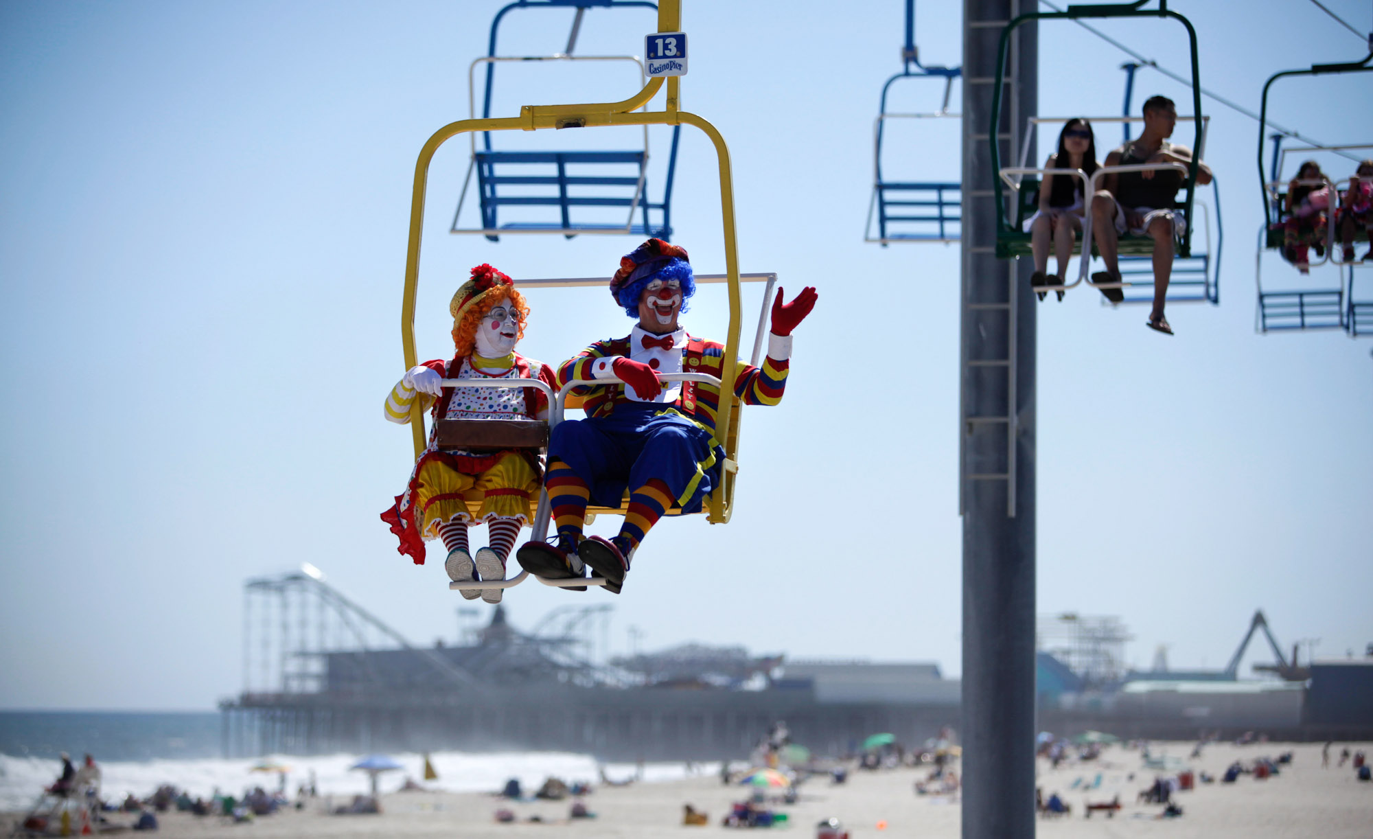 {quote}Fluffy{quote}, Laverne Fox (left) and {quote}Silly Willy{quote} Bob Krisby, both of Florida wave to onlookers from atop the Skyride along the Seaside Heights Boardwalk. Photographed for The Star-Ledger