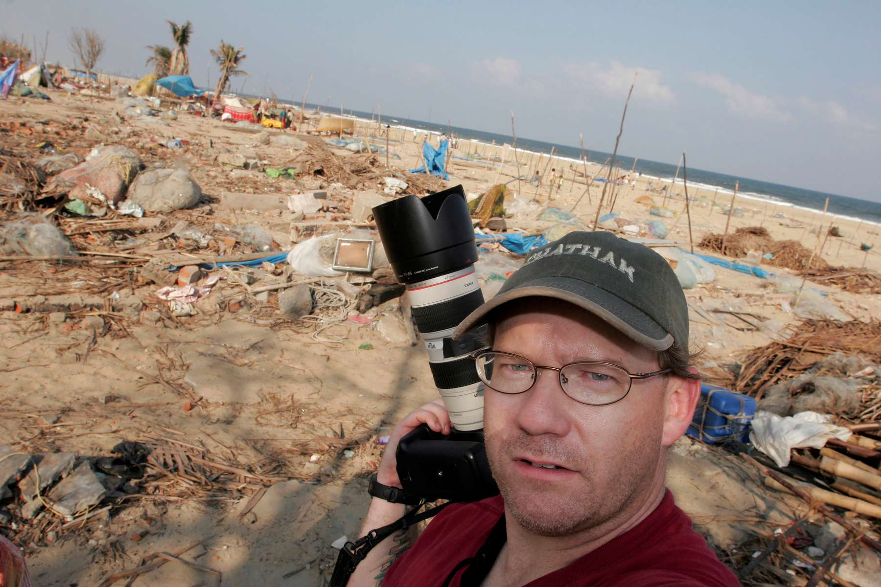 Star-Ledger staff photographer Matt Rainey on the beach in Chennai.   Living conditions on the coastline of southern India are horrific following the recent Tsunami disaster which struck the region on December 26, 2004.  Thousands live without any shelter in the Srinivasa Puram neighborhood on Chennai.    1/14/05 -  MATT RAINEY/THE STAR-LEDGER