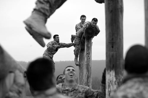 Members of the A co. 2nd 113th Infantry out of Newark, NJ run an obstacle course  at Fort Indiantown Gap in Pennsylvania.More than 3,000 NJ Army National Guard troops are training at Fort Indiantown Gap near Harrisburg, PA focusing on marksmanship, urban warfare, convoy and  combat lifesaving.Photographed for The Star-Ledger