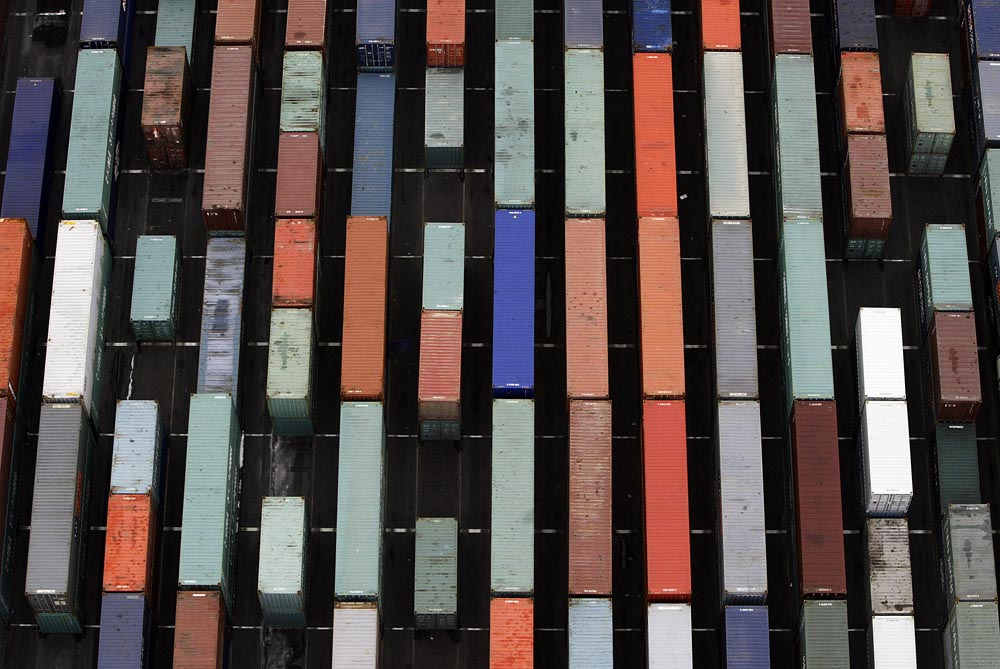 Cargo containers are stacked at Port Newark after they are offloaded from ships. Photographed for The Star-Ledger