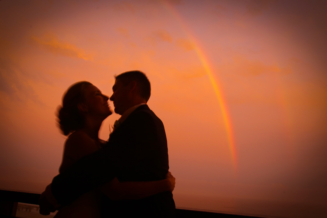 A rainbow over the Atlantic Ocean during a wedding at the House of Blues in Atlantic City, New Jersey