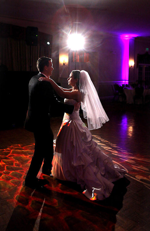 Photograph of a bride and groom's first dance at a New Jersey wedding reception.