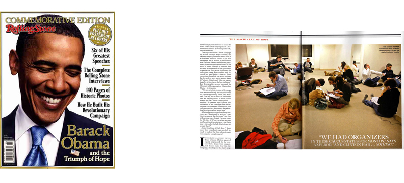 in the Commemorative Edition of Rolling Stone magazine on Barack Obama(photo spread on right)