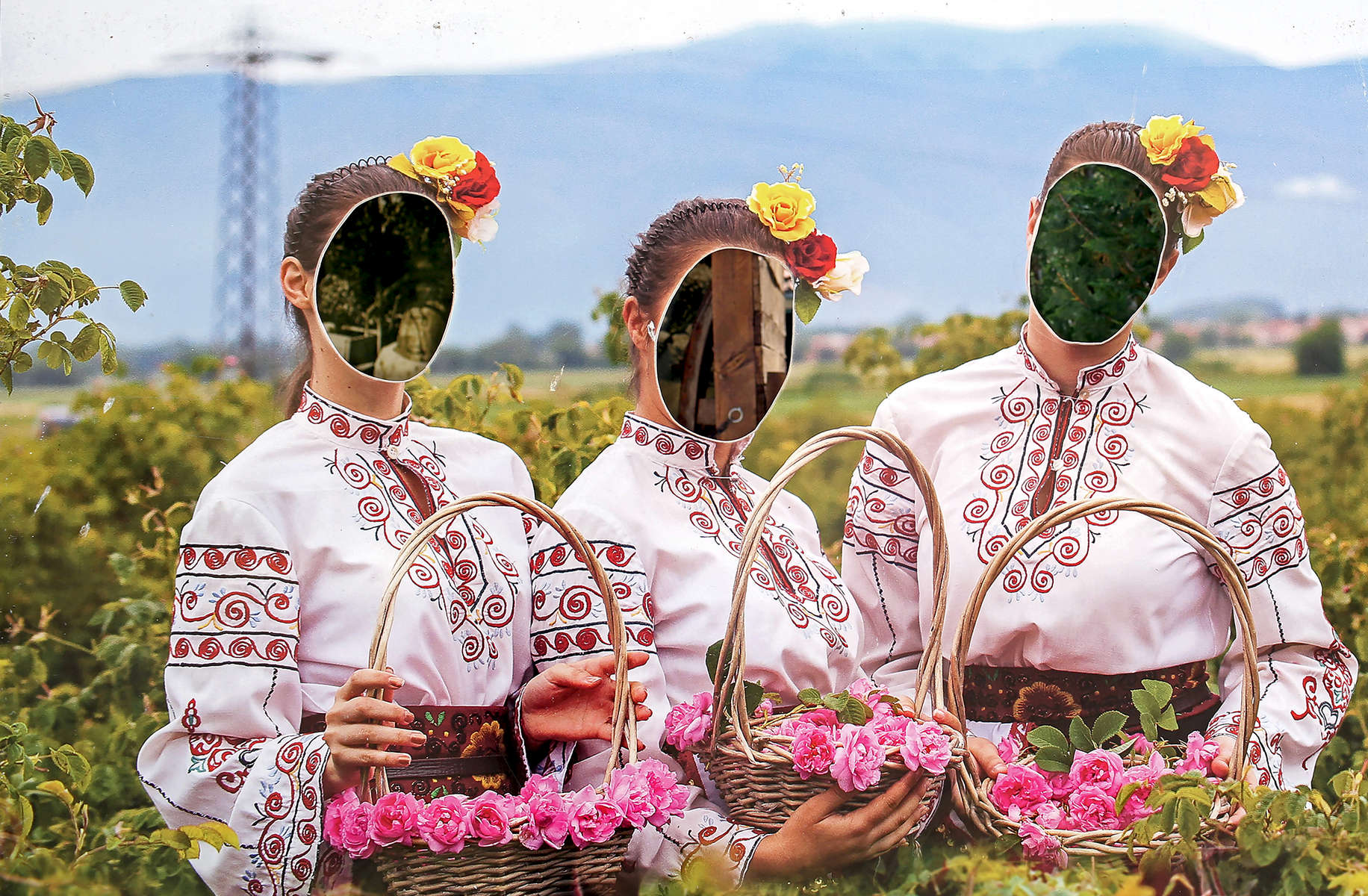 Entering the Institute for Roses and Aromatic Plants, a research and agriculture academy in Kazanlak, a town in The Rose Valley of Bulgaria, on June 04, 2018. The life-size pictures are meant for tourists who want to photograph themselves within the facial cutouts.Photo by: Yana Paskova for National Geographic Traveler