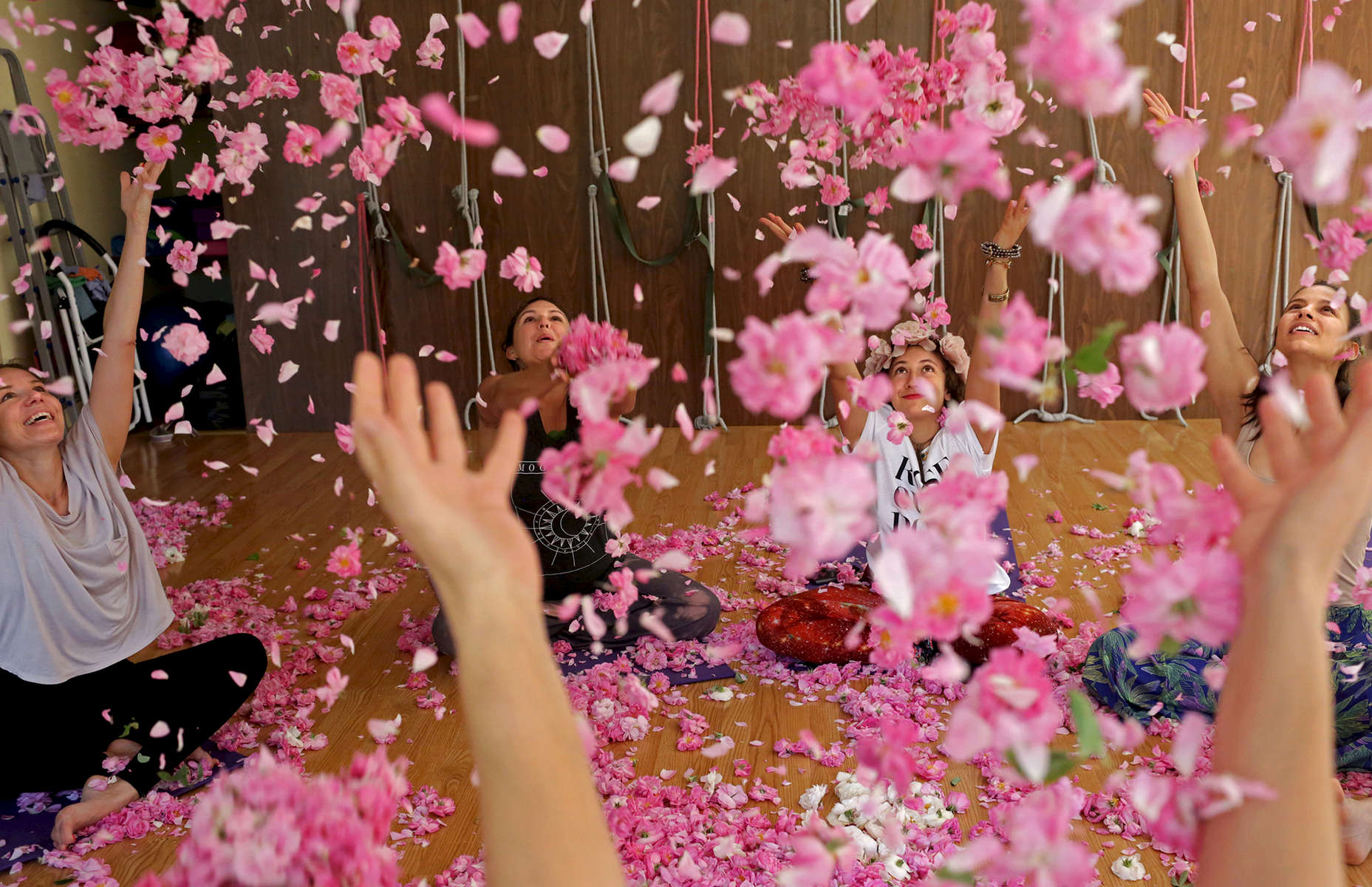 A rose yoga class in the yoga club {quote}Smiling Flower Kazanlak{quote} in Kazanlak on May 22, 2018. Photo by: Yana Paskova for National Geographic Traveler