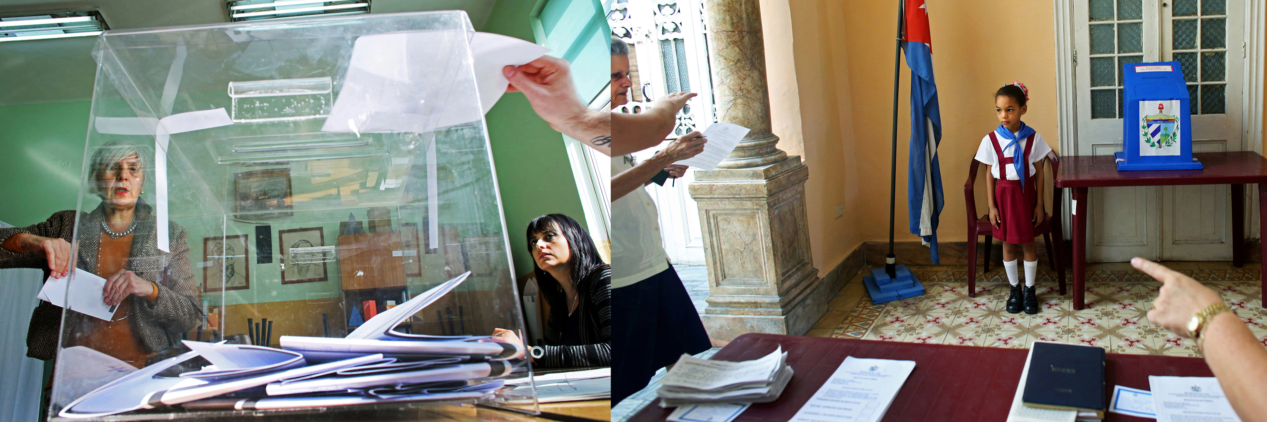Left - On this day, October 5th, 2014, the United States held its Midterm Elections - its multi-party ticket an unimaginable reality in autocratic Bulgaria pre-1989. (R-L) Here, Simona Kostova, from Bulgaria's voting commission, watches as a woman prepares to place her vote in the ballot box during Parliamentary elections in the nation's capital, Sofia. Despite a month-long vacillations - and that only 49% of the population turned up to vote - party leaders narrowly avoided reelections, with former prime minister and leader of center-right party GERB Boyko Borisov reinstated at the post.Right - Children wearing the uniform of communist youth are directed to salute {quote}Votó!{quote} ({quote}S/he voted!{quote}) as a woman places her ballot in Cuba's Elecciones Parciales (Partial Elections) to elect delegates to the Municipal Assemblies of People's Power, the country's unicameral parliament, on April 19, 2015 in Havana, Cuba. The delegates function as district representatives for a 2.5 year term.Elementary schoolchildren in many Communist countries (Cuba and pre-1989 Bulgaria included,) wear scarves as part of the uniform of the children's Communist youth - blue or red in color depending on their age. Little Pioneers - members of the José Martí Pioneer Organization for children operated by the communist party in Cuba - are often sent to people's homes to motivate citizens to the polls. Voting is not mandatory, but frowned upon if not exercised. I've used diptychs to bridge one country's past - communist Cuba - to another country's present - post-1989 Bulgaria - to show that political ideals, its profiteers and its victims, can remain unchanged by time or geography.