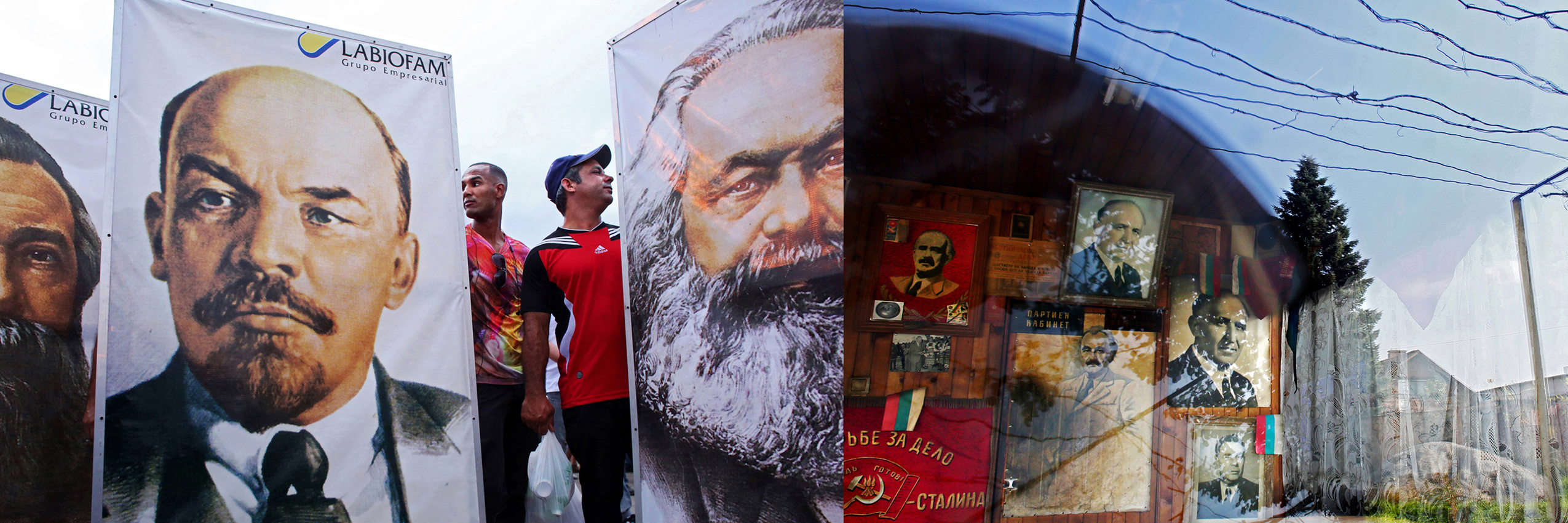Left - (L-R) Participants in the 1st of May Labor Day parade march of 2015 in Havana, Cuba, hold signs of German Communist revolutionary Friedrich Engels, Russian Communist leader Vladimir Lenin and German Communist revolutionary Karl Marx. In Cuba, the day known as Dia del Trabajo is a call for people to show support to their socialist government and the Cuban Revolution. Guests worldwide are known to join. While attendance is not mandatory, absences are usually noted and discouraged. The Communist years' Labor Day marches in Bulgaria were much like those in today's Cuba: people huddling with their co-workers in the early a.m. hours, waiting for their attendance to be accounted by their boss - or face social and professional retribution.  Right - Communist nostalgia is still very much alive in Bulgaria. Tato, a bar in Sofia (currently closed due to the death of its owner,) is decorated with portraits of Bulgarian Communist dictator Todor Zhivkov (upper center,) in Bulgaria's capital Sofia, on November 6th, 2014. His nickname and bar's namesake {quote}Tato{quote} is a play on the word {quote}dad{quote} in Bulgarian. Zhivkov was the head of state of the People's Republic of Bulgaria from March 4, 1954 until the day after the fall of the Berlin Wall, November 10, 1989, when he resigned under political pressure over the country's worsening economy and public unrest. I've used diptychs to bridge one country's past - communist Cuba - to another country's present - post-1989 Bulgaria - to show that political ideals, its profiteers and its victims, can remain unchanged by time or geography.