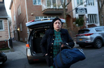 Ezras Nashim EMT Malky Felb arrives to an exercise drill at the Ezras Nashim office in Brooklyn, NY on April 06, 2021. (Photo by: Yana Paskova for The New York Times/the National Geographic Society)
