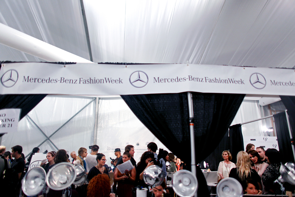 Backstage, September 10, 2011, at Mercedes-Benz Fashion Week in New York, NY.