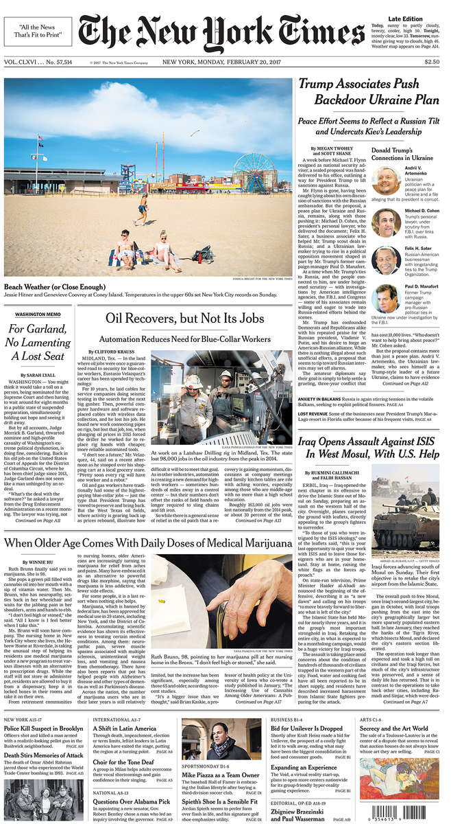 The New York Times front page(bottom photo)