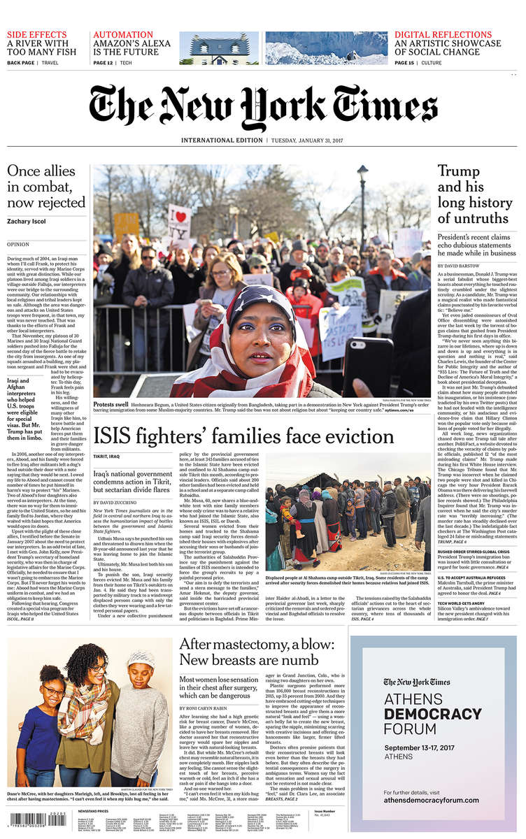 The International New York Times front page(top photo above fold)