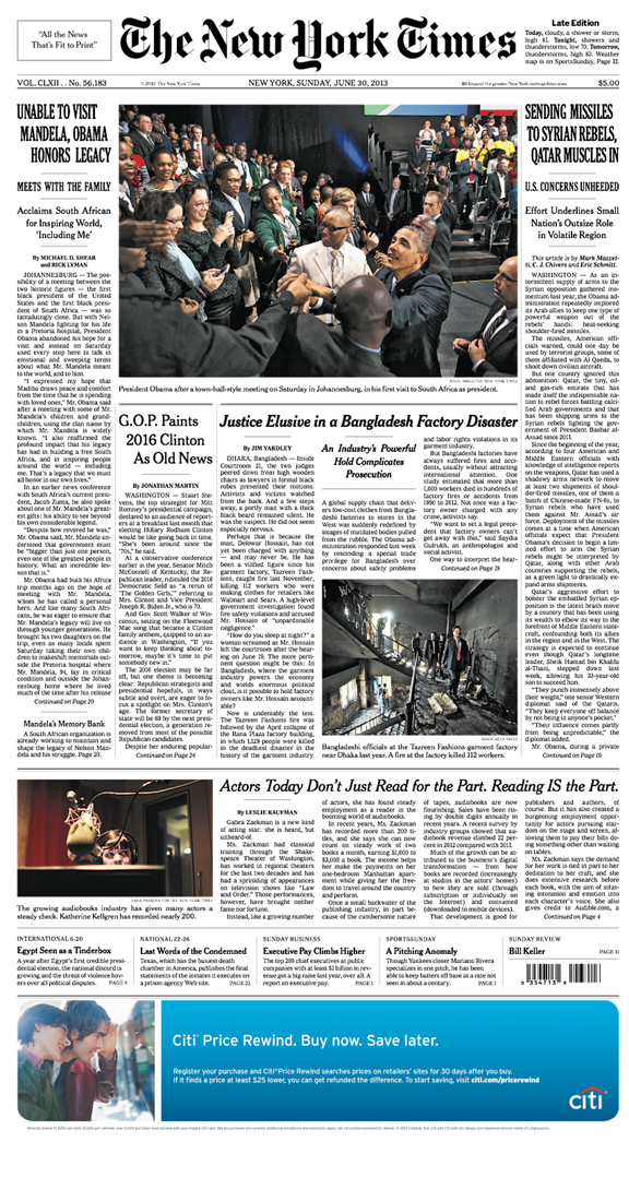 The New York Times front page(photo on bottom left)