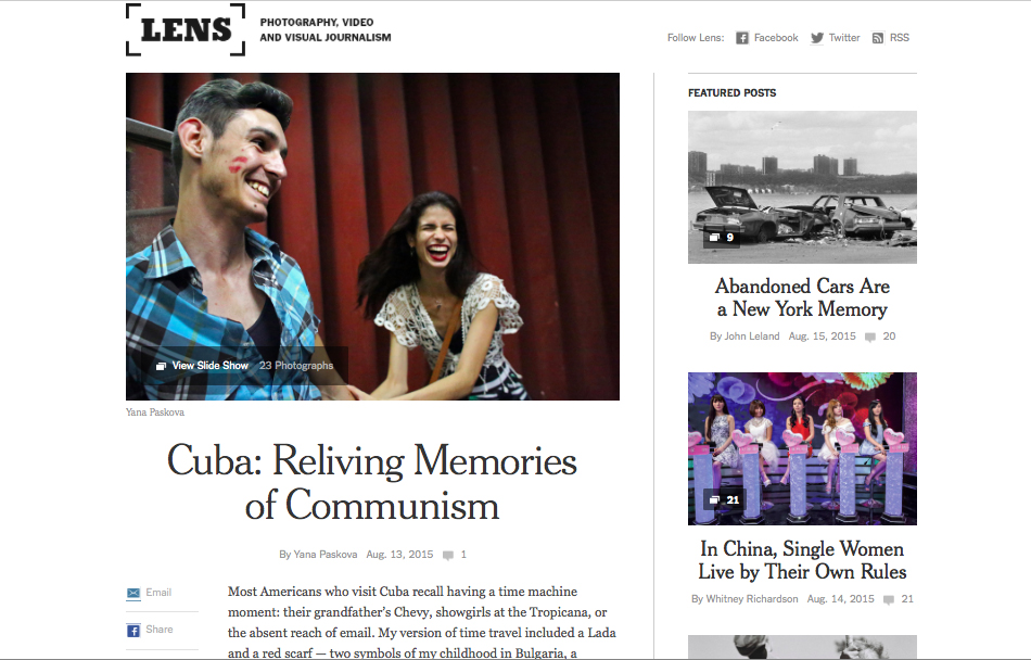 NYT Lens feature, in pictures and words: http://lens.blogs.nytimes.com/2015/08/13/cuba-reliving-memories-of-communism/