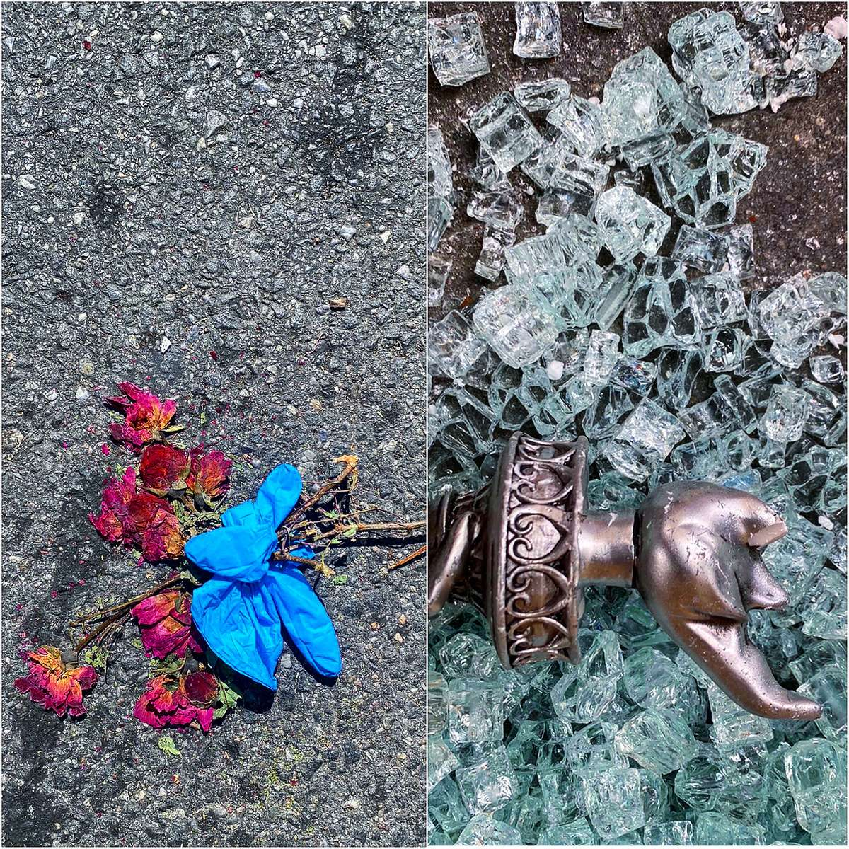 (Diptych, L-R) Gloves tied to dried roses, naturally flattened by traffic on Dekalb Avenue in Brooklyn + a broken liberty torch amongst shattered storefront glass in Times Square, during heavy protesting against police brutality and social inequality in New York, June of 2020.