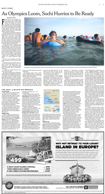 The New York Times - Travel sectionRussia(photo on top)