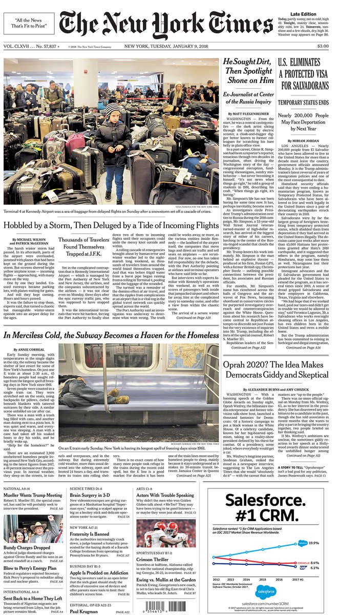 The New York Times front page(top photo above fold)
