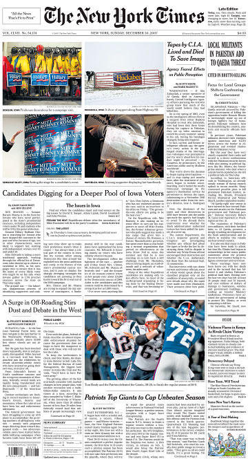 The New York Times front page(photo in second row, right)