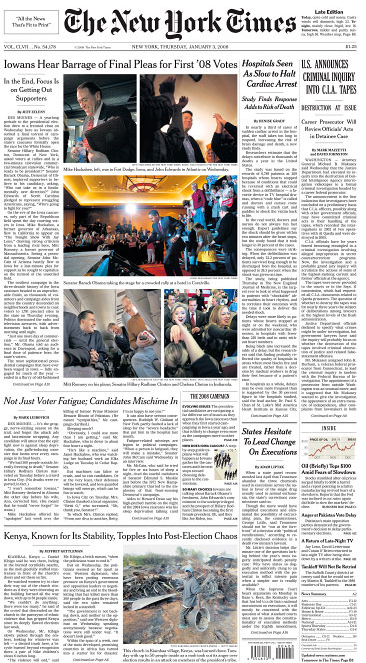 The New York Times front page(photo in top row, right)