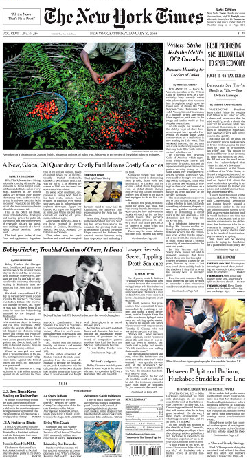 The New York Times front page(photo on bottom right)