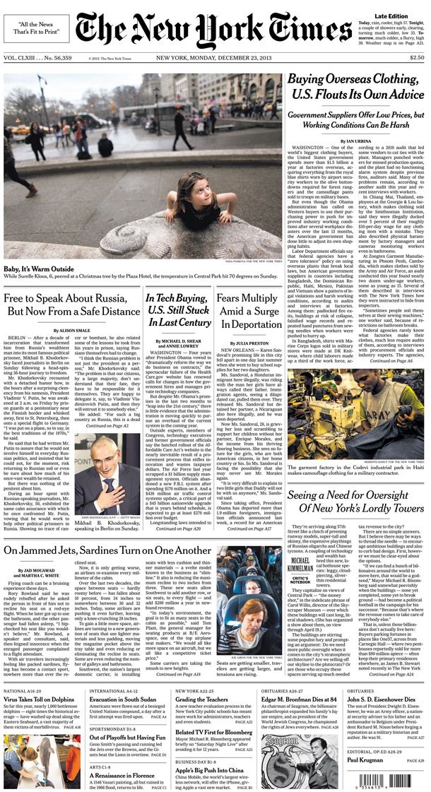 The New York Times front page(top photo above the fold)