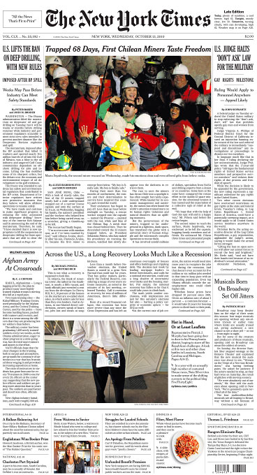 The New York Times front page(photo on bottom)