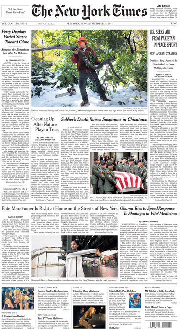 The New York Times front page(second photo from top)