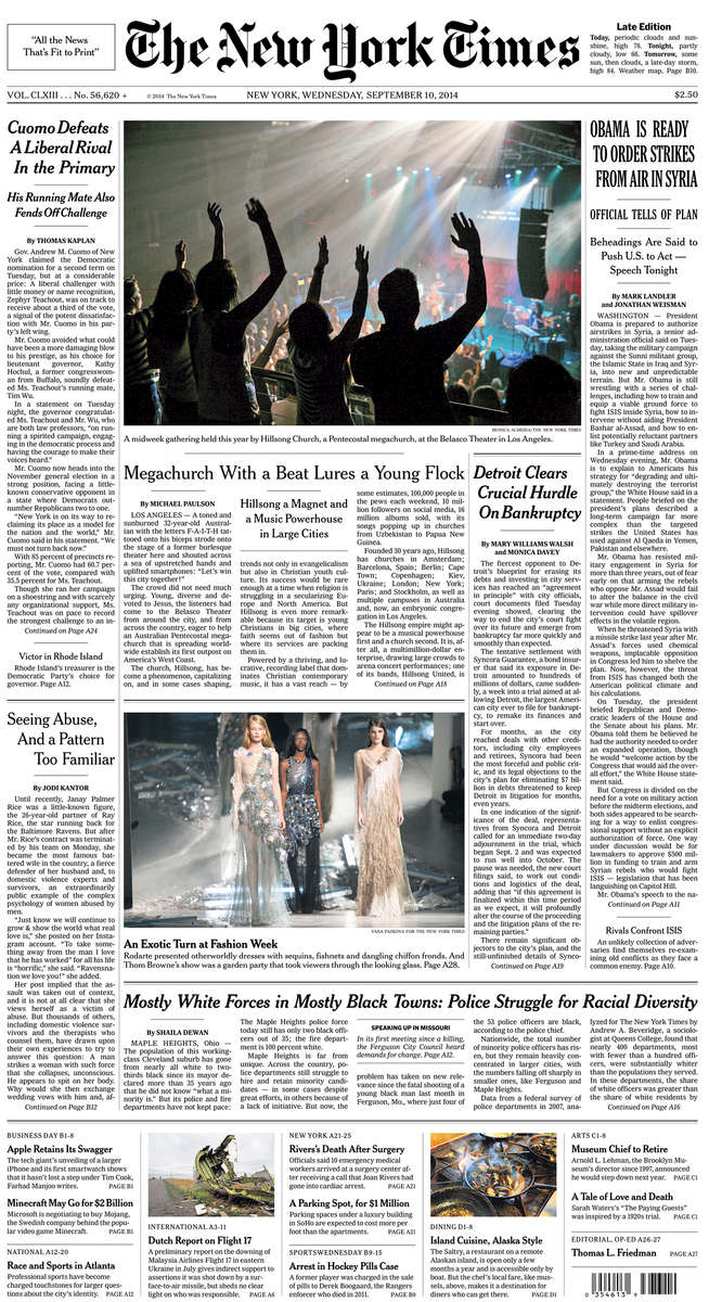 The New York Times front page(photo in middle center)