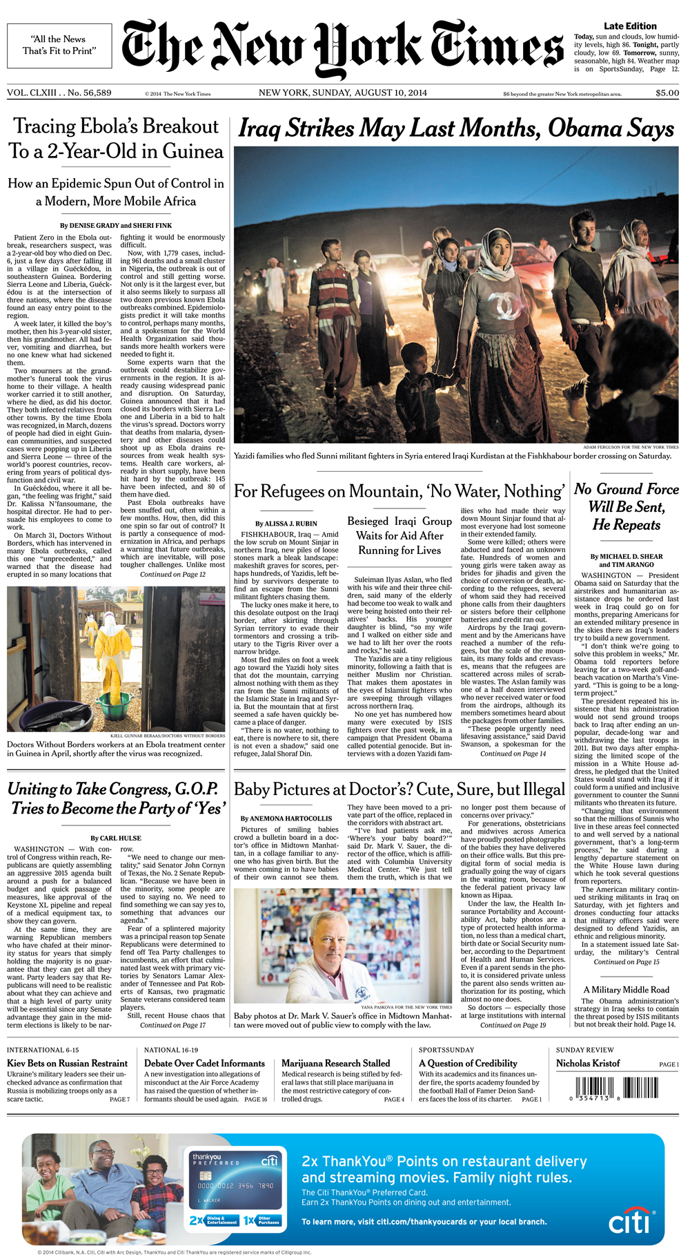 The New York Times front page(photo on bottom center)
