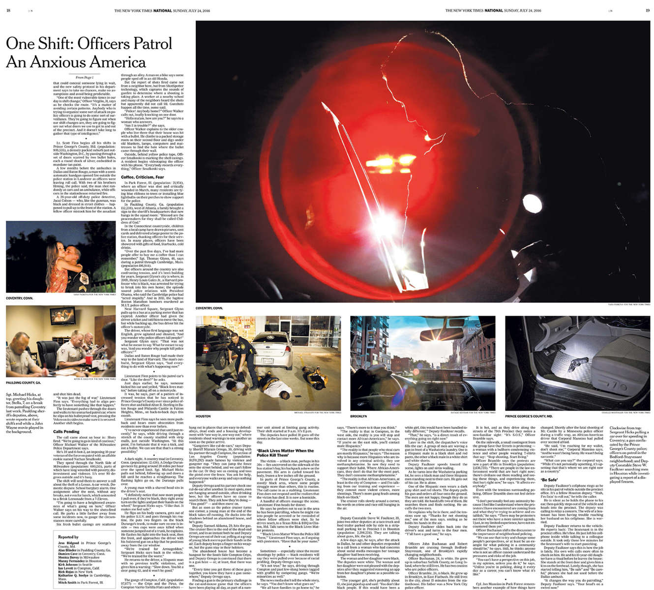 The New York Times National Section front (main photo on top right of page + smaller photo on top left)