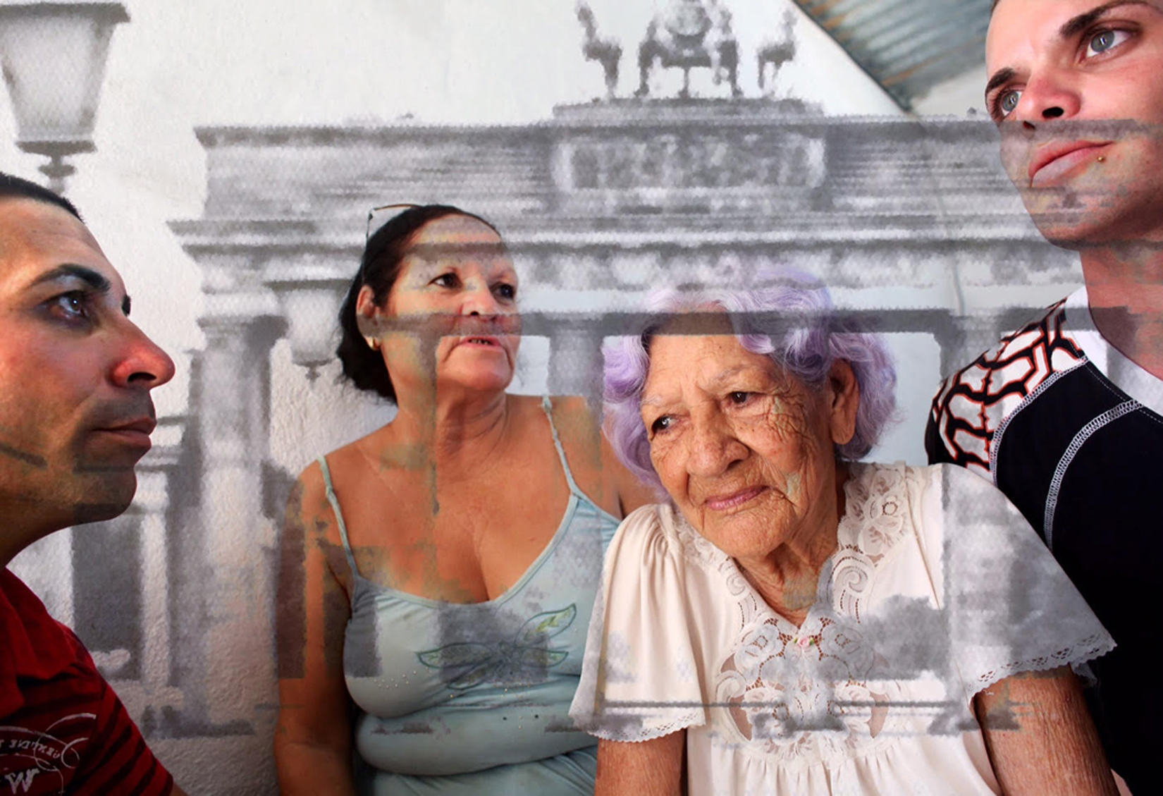 This is the Cuban family (sister, nephews and 93-year-old mother) of a man who fled from Cuba to Florida during the Mariel Boatlift of 1980. The four have been separated from their uncle, son and brother for 35 years. It is blended with a faraway view of the Brandenburg Gate, as close as you could get from East Berlin before the fall of the Berlin Wall - photographed during one of few vacations my grandparents and father could take in the Communist years. International travel was limited to pre-approved countries within the Eastern Bloc (while Western nations were accessible with government approval only.) The merging of these images speaks of both the desire for and difficulty of immigration.