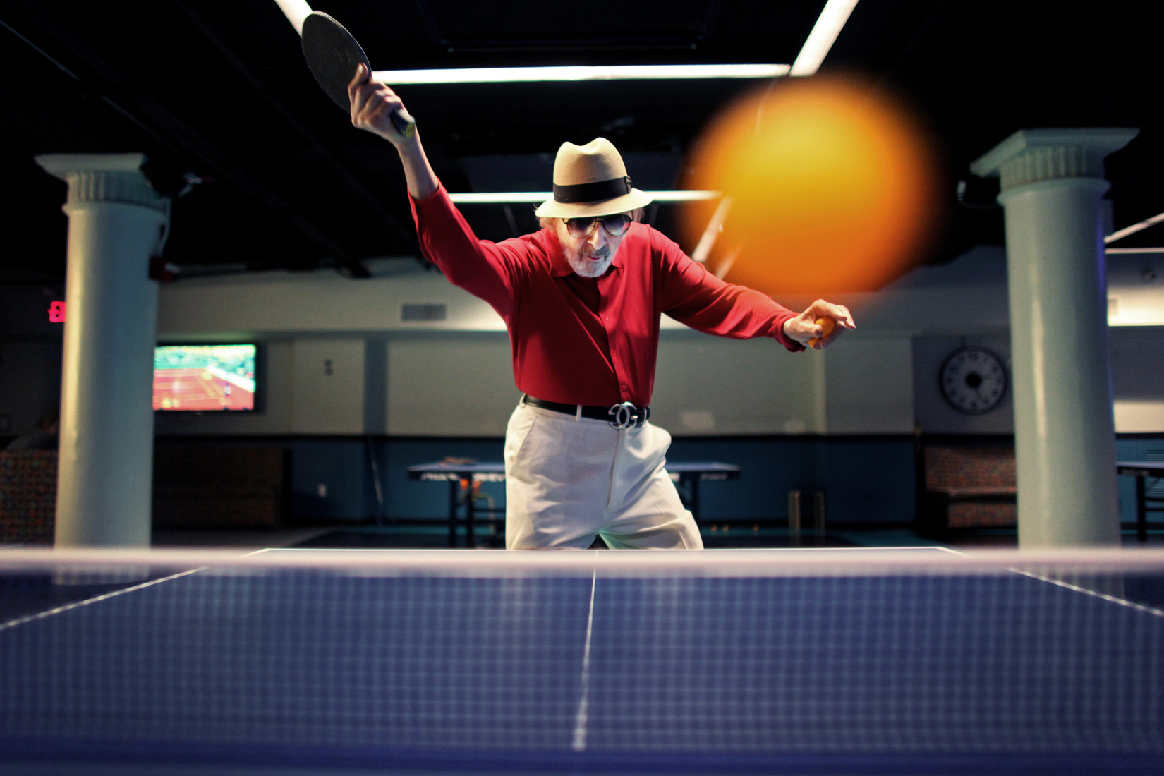 Marty Reisman, 81, 1958 and 1960 U.S. Open table tennis champion, poses for a portrait playing ping pong at Spin New York on Sunday, May 29, 2011 in Manhattan, New York.  (For The New York Times)