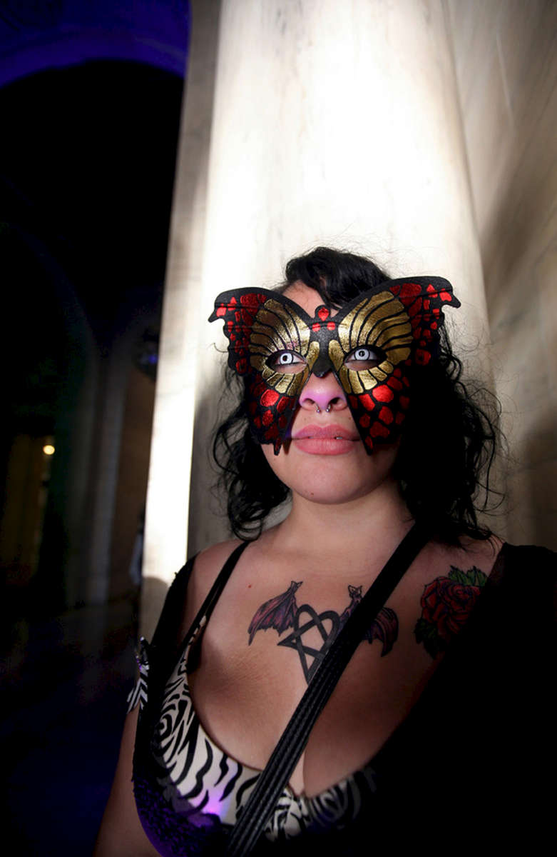 Noemi Perez poses for a portrait during a teen {quote}anti-prom,{quote} an alternative for students from the High School of Fashion Industries, at The New York Public Library, on Friday, June 03, 2011 in Manhattan, New York.