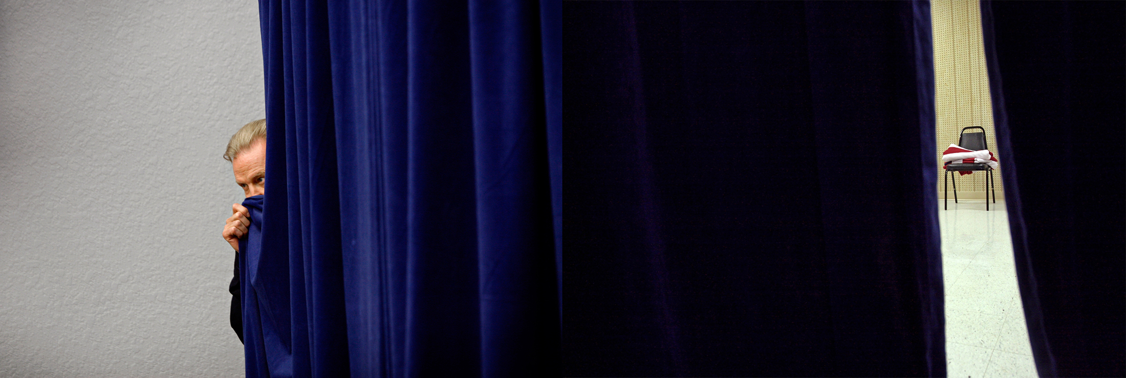 (L-R) Actor John Voight peeks out behind the curtains, from which U.S. Presidential hopeful Rudy Giuliani (R-NY) is about to enter a rally with him and former FBI director Louis J. Freeh at the Fantasy of Flight museum in Polk City, Florida, on Sunday, January 20, 2008; and an American flag sits folded on a chair backstage as U.S. Presidential hopeful Sen. Hillary Clinton (D-NY) speaks at the Bluegrass Cafe in Tama, Iowa, on Nov. 19, 2007. (Photo by: Yana Paskova for The New York Times)