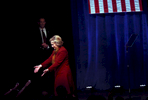 Democratic Presidential candidate Hillary Clinton greets the audience after speaking at the Schomburg Center for Research in Black Culture in Manhattan, NY, on February 16, 2016. (For Washington Post)