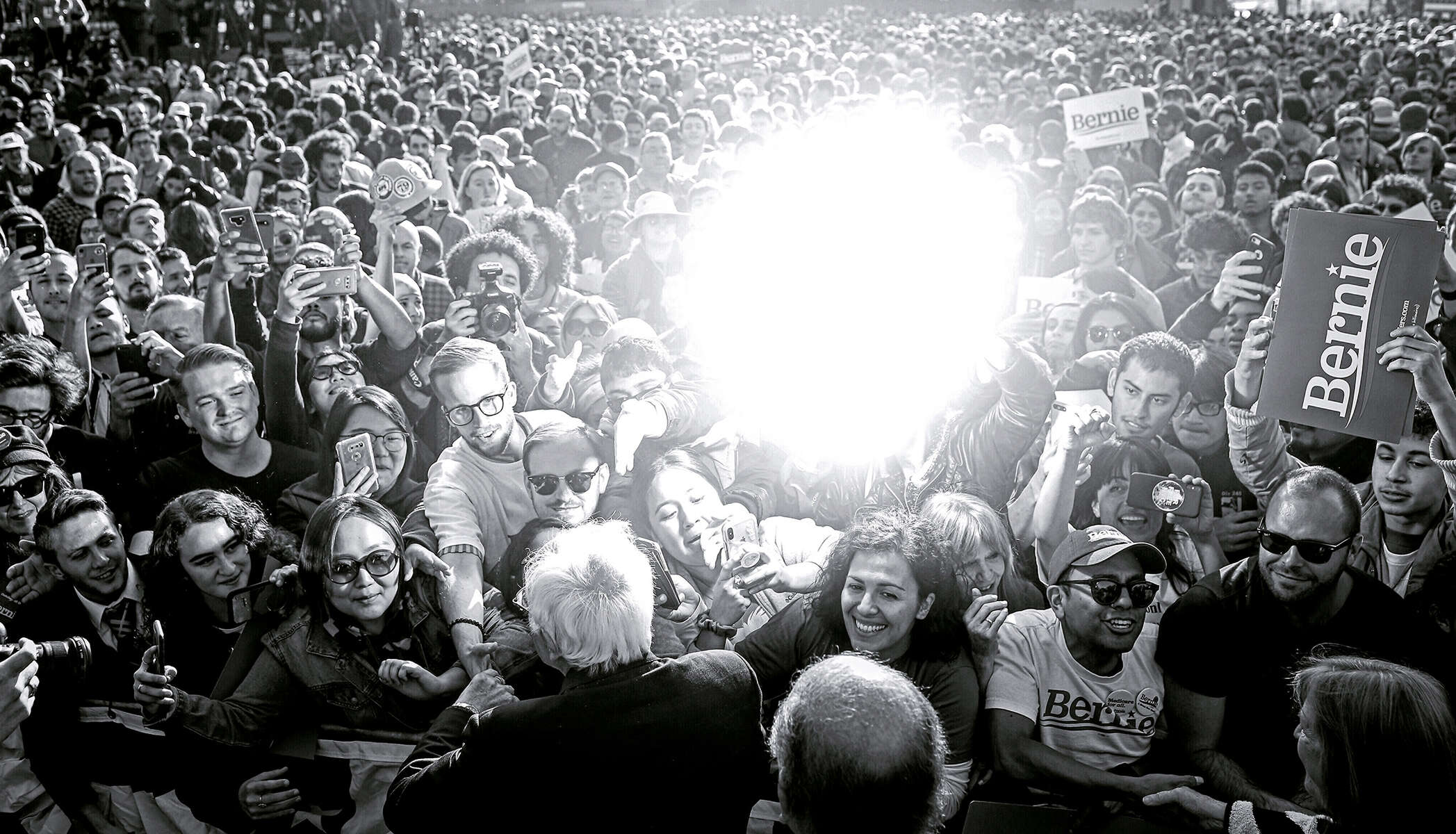 Democratic U.S. presidential candidate and U.S. Senator Bernie Sanders (I-VT) greets the audience after speaking at a {quote}Bernie's Back{quote} rally at Queensbridge Park in Queens, NY, on October 19, 2019. The rally, at which Representative Alexandria Ocasio-Cortez (D-NY) endorsed Sanders, drew over 20,000 participants and took place shortly after Sanders was hospitalized for a heart attack at the start of the month.(For Reuters)