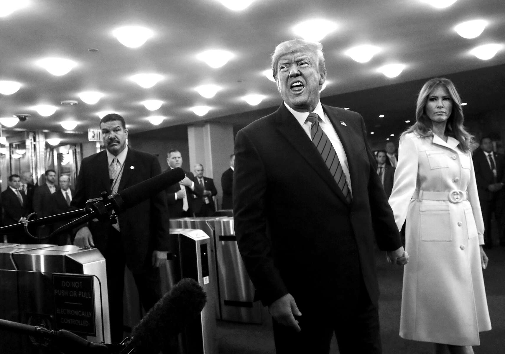 U.S. President Donald Trump speaks with reporters as he and first lady Melania Trump arrive to the 74th session of the United Nations General Assembly at the U.N. headquarters in New York, NY, on September 24, 2019. The president's interaction with the press is often adversarial.(For Reuters)
