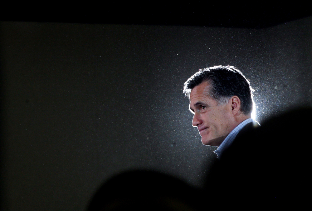 Republican Presidential candidate Mitt Romney (R-MA) speaks at a rally at West Hills Elementary School in Knoxville, Tennessee on Sunday, March 04, 2012. (For The New York Times)