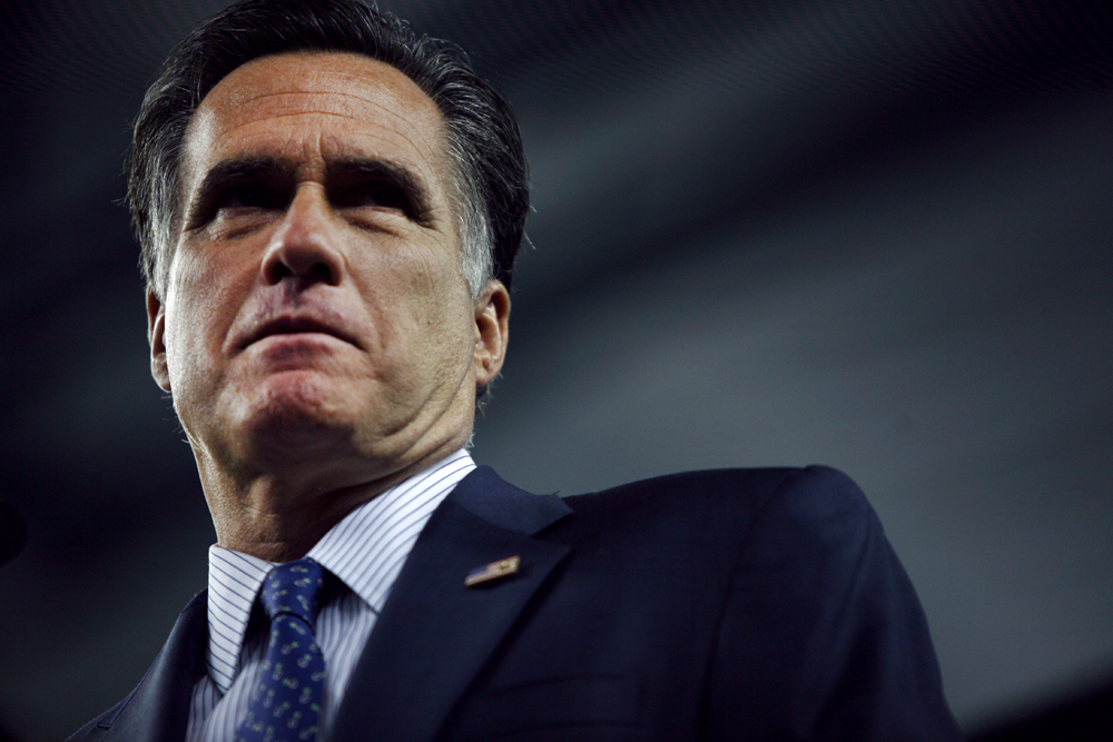 Republican Presidential candidate Mitt Romney (R-MA) pauses while addressing the Detroit Economic Club at Ford Field in Detroit, Michigan on Friday, February 24, 2012.