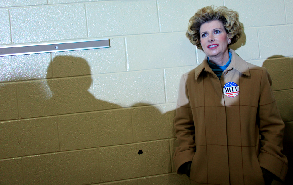 Mary Beth Browder poses for a portrait while Republican Presidential candidate Mitt Romney (R-MA) speaks at a rally at West Hills Elementary School in Knoxville, Tennessee on Sunday, March 04, 2012. (For The New York Times)