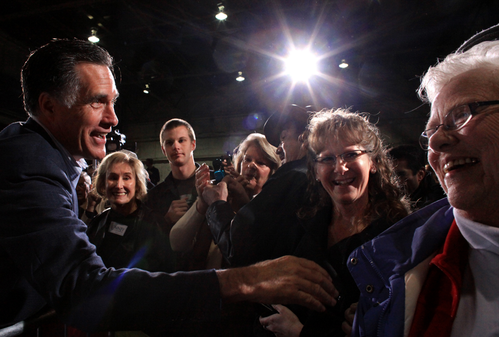 Republican Presidential candidate Mitt Romney (R-MA) greets the crowd after speaking at a rally at American Posts in Toledo, Ohio on Wednesday, February 29, 2012. (For The New York Times)