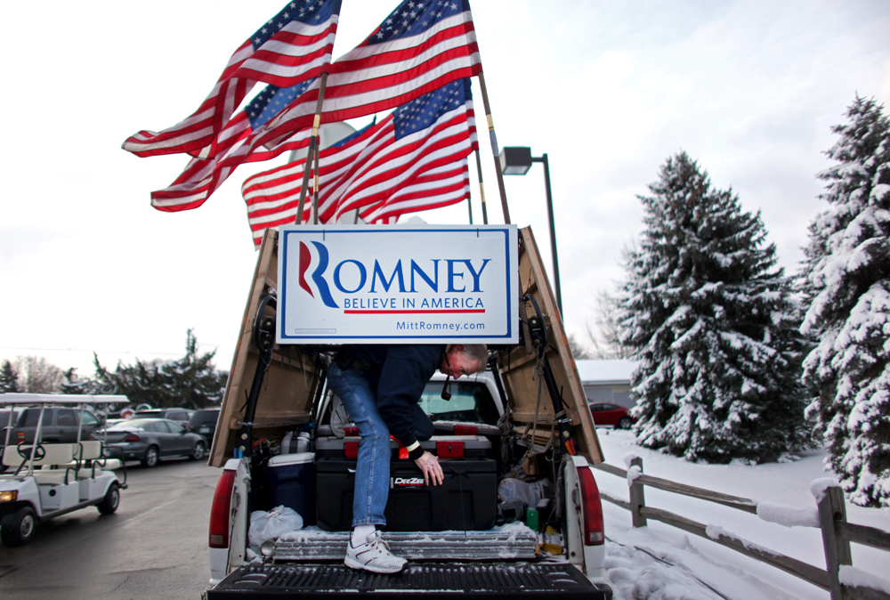Jim Wilson, 68, from Buckingham, Virginia, who has followed Republican Presidential candidate Mitt Romney (R-MA) since the Iowa State Fair, waits for him to arrive to the Ingham Lincoln Day Breakfast at the Chisholm Hills Banquet Center in Lansing, Michigan on Saturday, February 25, 2012. (For The New York Times)