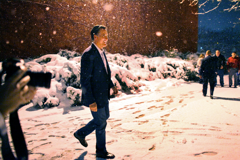 Republican Presidential candidate Mitt Romney (R-MA) leaves Western MIchigan University after speaking there, in Kalamazoo, Michigan on Friday, February 24, 2012. (For The New York Times)