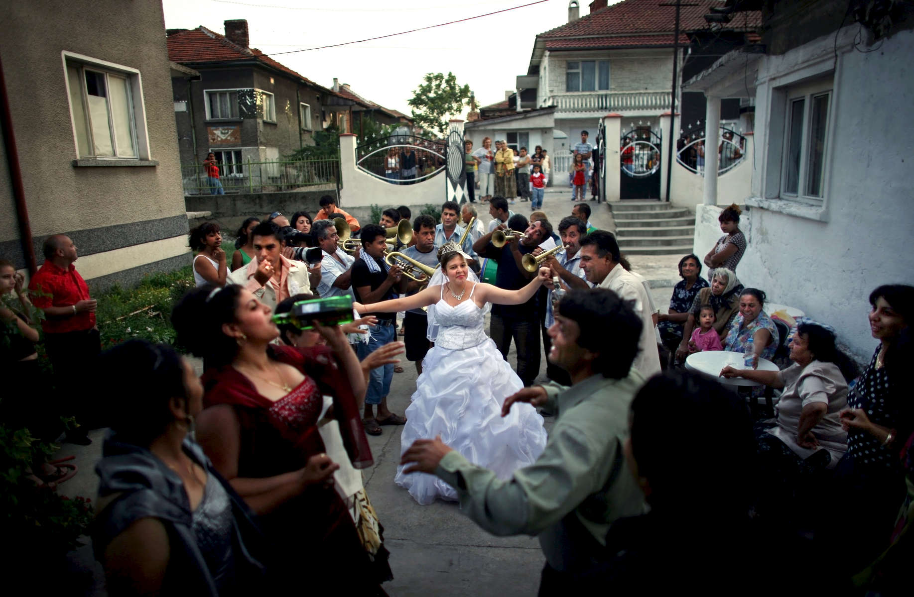 Guests dance during a Roma wedding in Northwest Bulgaria in August 2008.