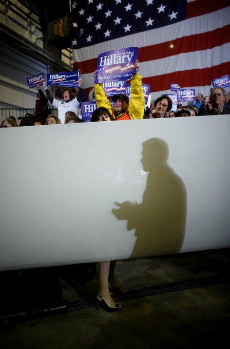 Potential supporters of U.S. Presidential hopeful Hillary Clinton (D-NY) listen to her speak at an economy rally in Fairless Hills, Pennsylvania, on Monday, March 31, 2008. The Senator is hoping to woo crucial to her votes in the state before its primary on April 22, 2008.