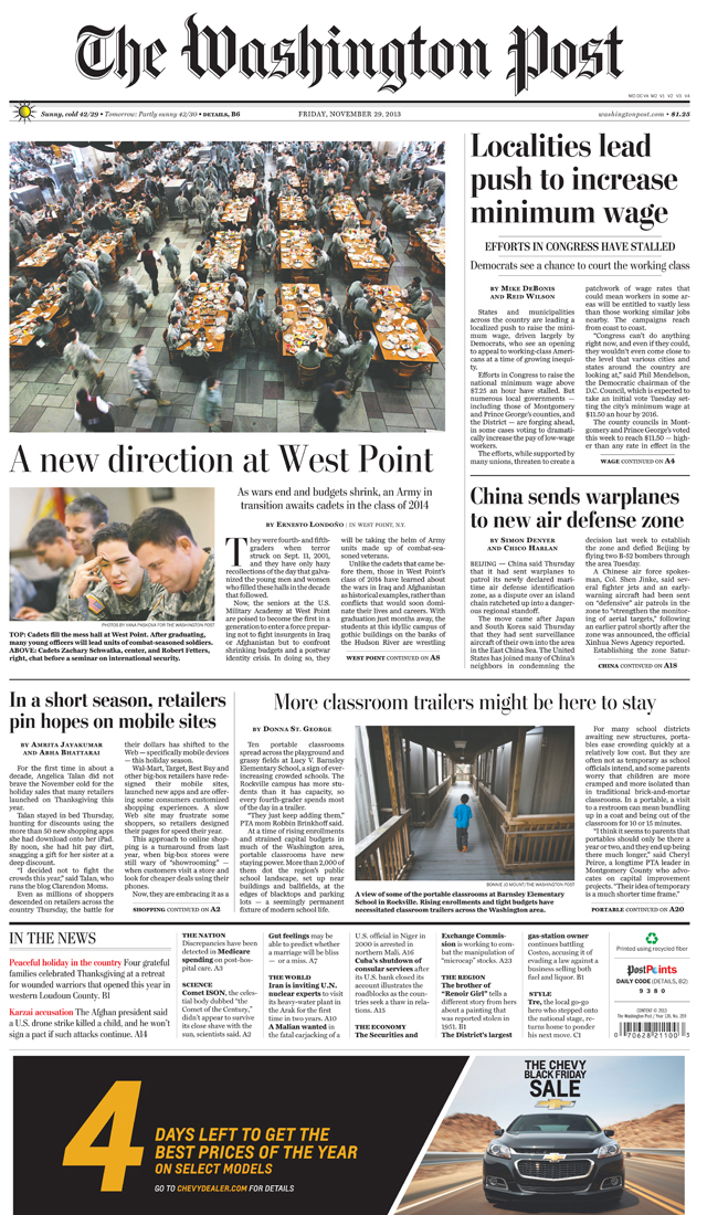 The Washington Post front page(top photo above the fold)