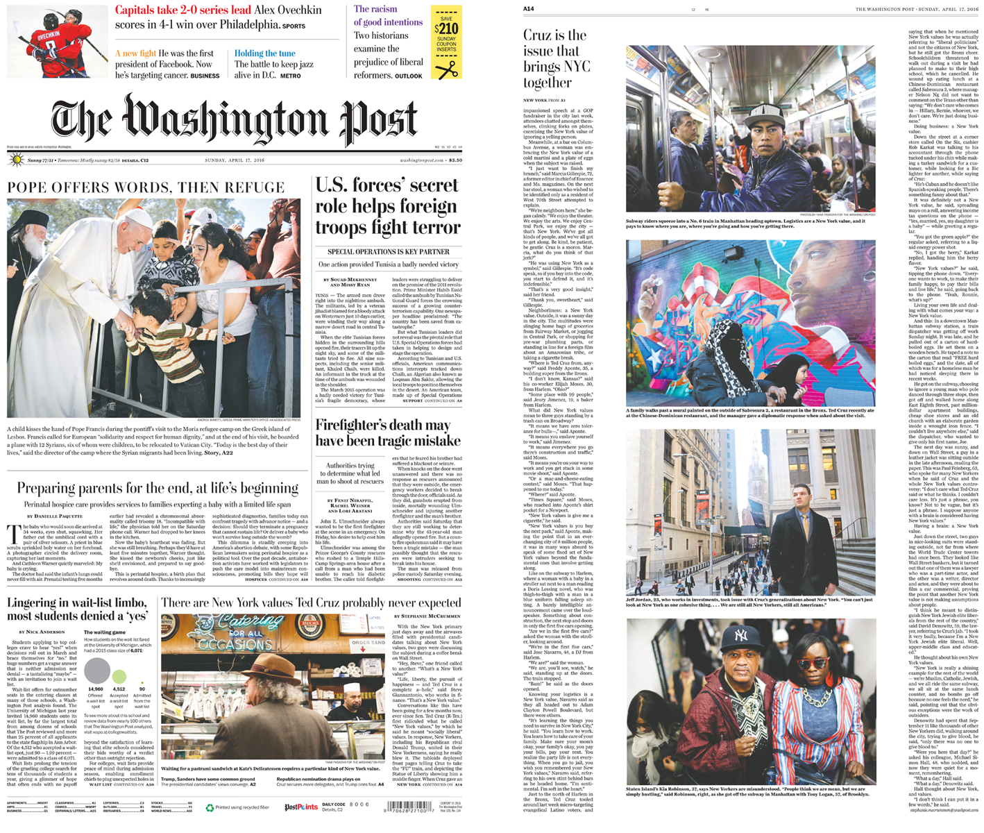 (L-R) Washington Post front page (bottom photo) + inside spread