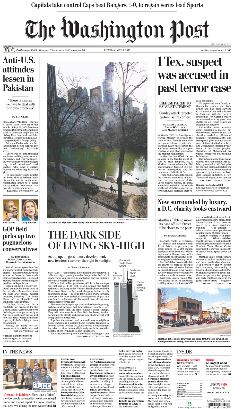 Washington Post front page(top photo above the fold)
