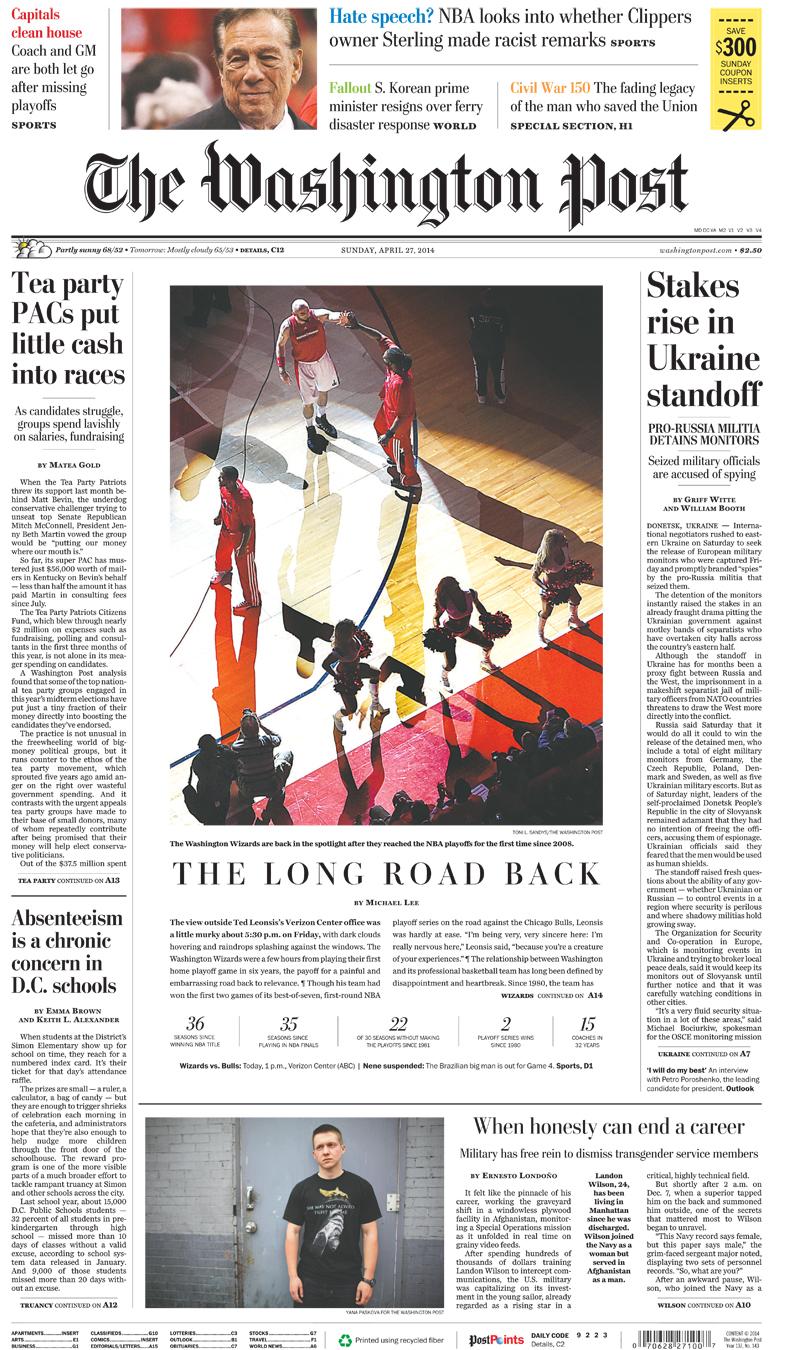 Washington Post front page(bottom photo)