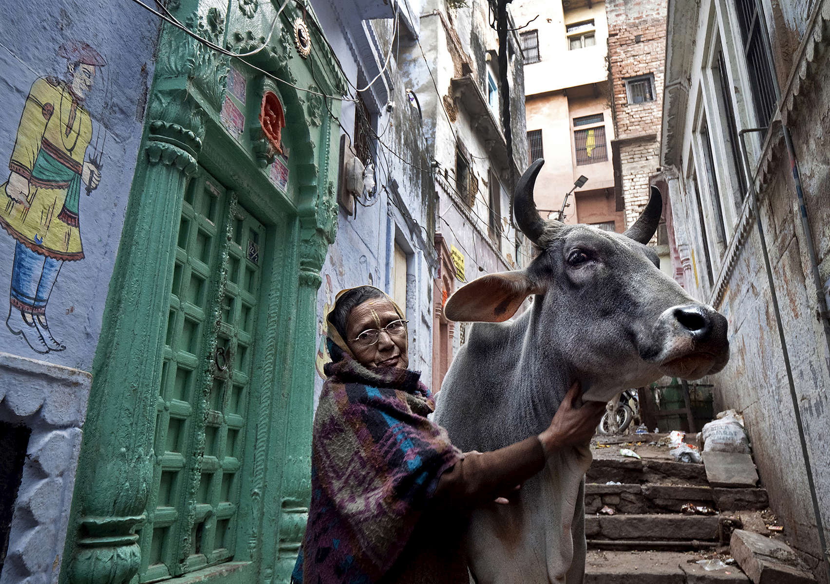 Meena Devi, 78, a widow, pets a cow outside of Rak Kuti ashram in Varanasi, India on January 07, 2019. Meena is originally from Nepal, and has lived in the ashram for the past 25 years. Before that, she lived in the same building as Sita Devi, 52, and her mother-in-law, Goma Devi, 96, who now also occupy this ashram. Meena is a child widow. {quote}Maybe I was cursed and I would have been forbidden to attend any functions because my husband died at a young age,{quote} she says. So with the help of relatives she moved here to live among other widows. She didn't want to marry again after her husband's death.