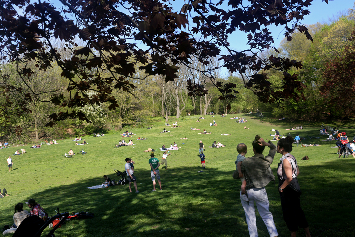 New Yorkers congregate in Prospect Park during nice weekend weather as social distancing guidelines remain in place to limit the spread of coronavirus on May 2, 2020 in New York City. (Photo by Yana Paskova/Getty Images)